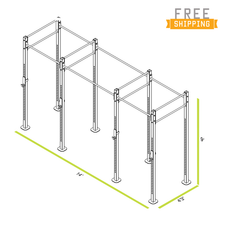 CAP+ 14-foot Free Standing Rig System - 4 Squat/Bench Stations