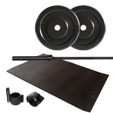 CAP Barbell 95 lb Bumper Plate Set with Bar, Muscle Clamp and Rubber Mat