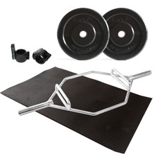 Cap Barbell Bumper Plate Set with Zinc Plate Hex Bar, Muscle Clamp and Mat
