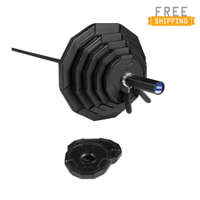 The Executive 12-Sided 300 LB Commercial Virgin Rubber Grip Weight Set with 1500 Lb Solid Black Power Bar