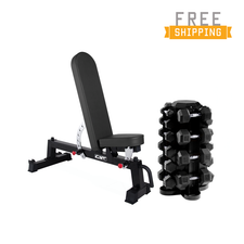 CAP+ 550 Rubber Hex Dumbbell Set & Horizontal Storage Rack Combo