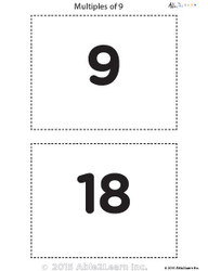 Counting - Multiple of 9's Flash Cards