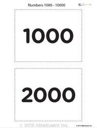Counting by 1000's from 1000 - 10000 Flash Cards