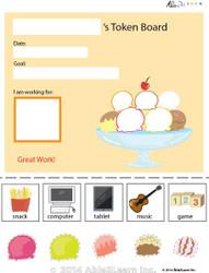 Token Board - Food Ice Cream - 5 Tokens
