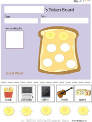 Token Board - Food Toast - 5 Tokens