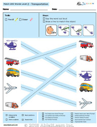 Transportation Identical Picture  Matching Program with ABLLS-R™ Words (Lv. 2)