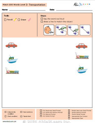 Transportation Identical Picture  Matching Program with ABLLS-R™ Words (Lv. 3)