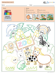 Colouring Sheets:  Scenes: Guided:  Level 3  - Pages 4