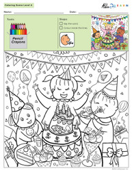 Colouring Sheets:  Scenes: Not Guided:  Level 4  - Pages 10