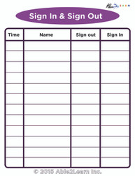 SIGN IN AND SIGN OUT  WASHROOM CHART FOR THE CLASSROOM:  SCHOOL SKILLS 1 PAGE