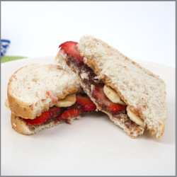 Peanut Butter Chocolate Spread Banana and Strawberry Sandwich Visual Recipe And Comprehension Sheets: Pages 16