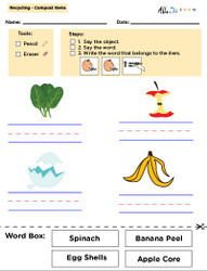 Recycling Matching To Words and Printing and Matching with Visual Aids: Social Studies, Language Development, Earth Day: 11 Pages