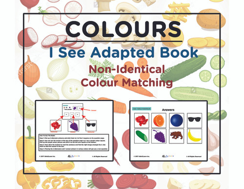 Free I SEE Book, Free Adapted Book, Special Education, Autism, Free Preschool Kindergarten Book, To learn colours and identical matching