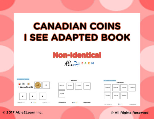 Candian Coins Non Identical Matching: Math Adapted Book: PAGES 23