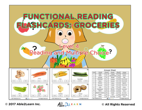 Autism Life Skills: Reading Groceries: 100 Flashcards: Pages 30