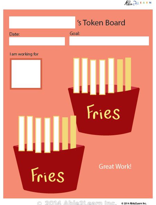 Token Board - Food French Fries - 10 Tokens
