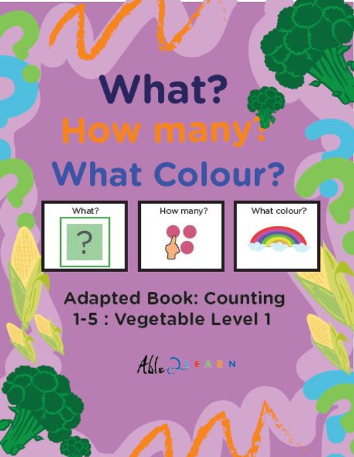 Veggie Themed Adaptive Books - Counting 1 - 5 (Lv. 1) - 19 Pages