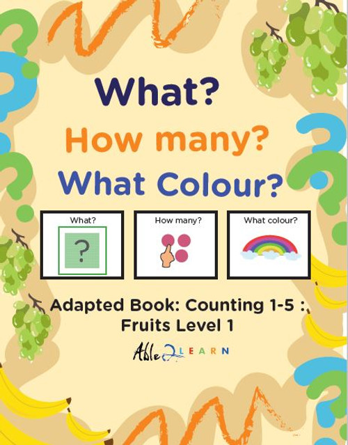 Fruit Themed Adaptive Books - Counting 1 - 5 (Lv. 1) - 19 Pages