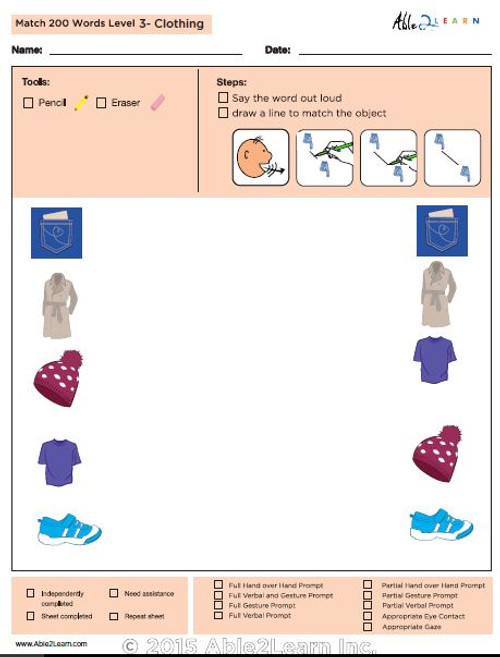 Clothing Identical Picture  Matching Program with ABLLS-R™ Words (Lv. 3)
