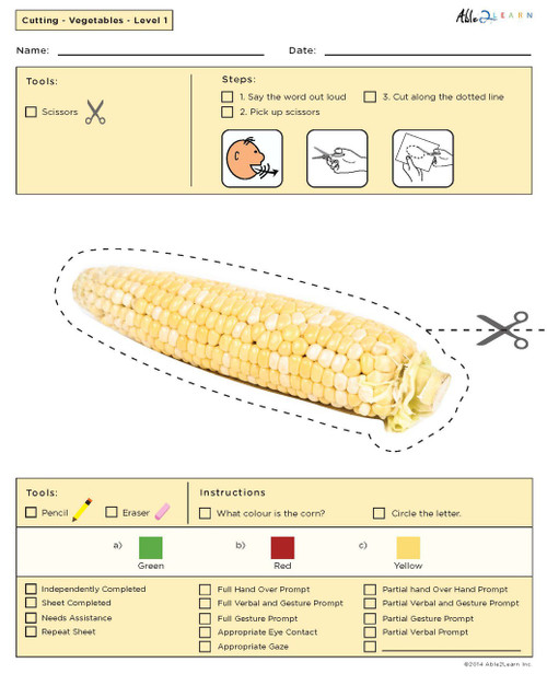Cutting with Scissors Practise - Vegetable Shapes (Lv. 1) 10 pages