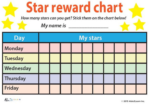 Token Board My Stars Weekly Reward Chart Pages 2 on Preschool Developmental Milestones