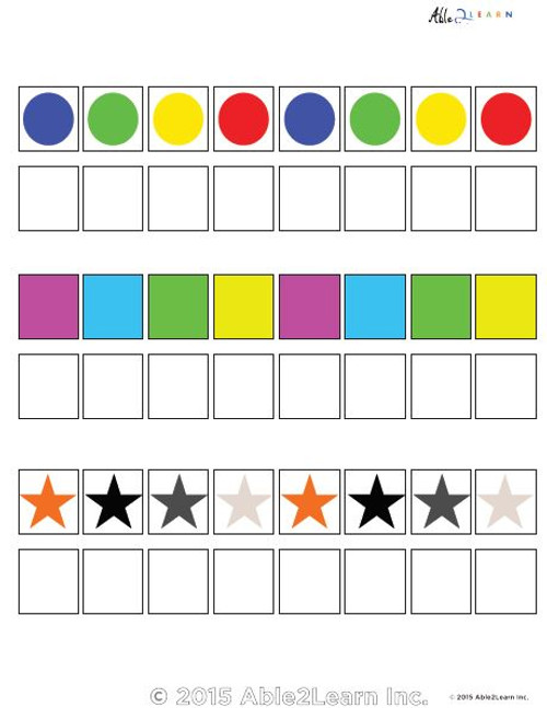Learn Patterns with Pattern Strips With Extra Pieces- 8 Pieces - ABCDABCD  Pages 5