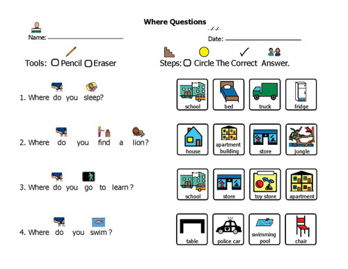 ANSWER WHERE QUESTIONS: COMPREHENSION & LANGUAGE DEVELOPMENT 5 Pages