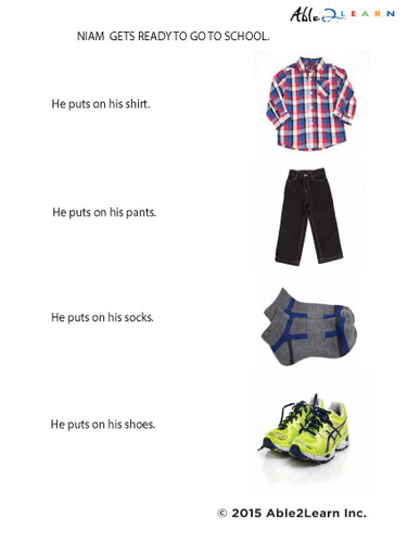 social story, going to school, dressing