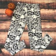 Halloween Skull & Floral Leggings