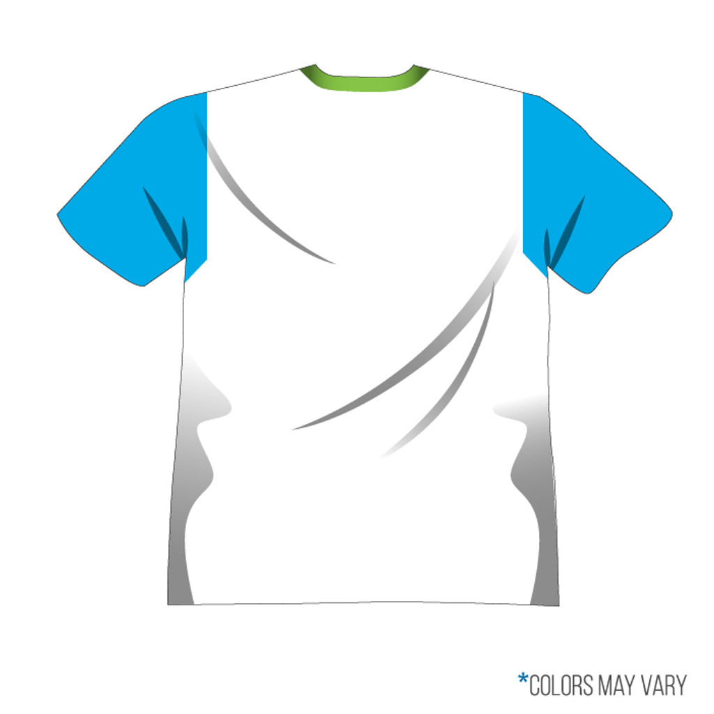 Breakmark Front Panel Short Sleeve Back Light with Electric Blue Sleeves, White Back and Lime Collar
