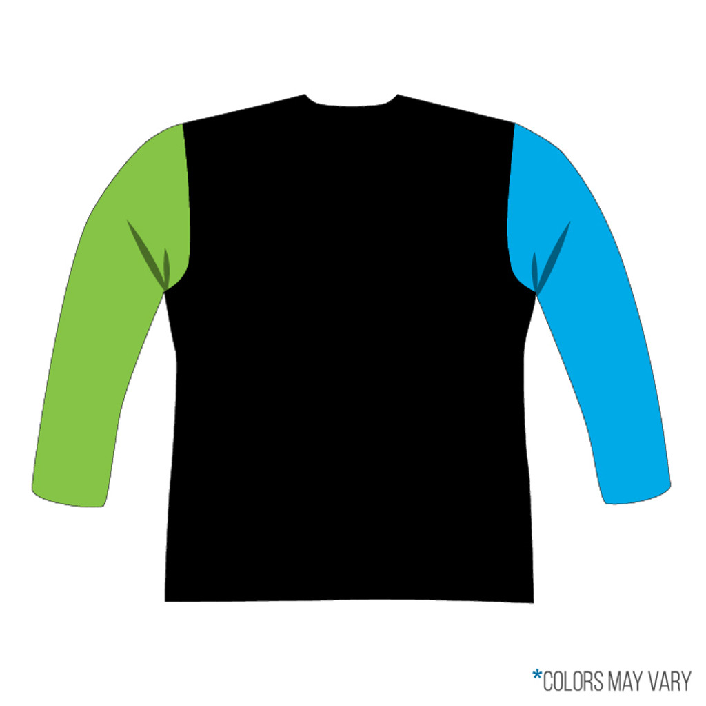 Breakmark Front Panel Long Sleeve Back Dark with Electric Blue Sleeve, Lime Sleeve, Black Back and Black Collar