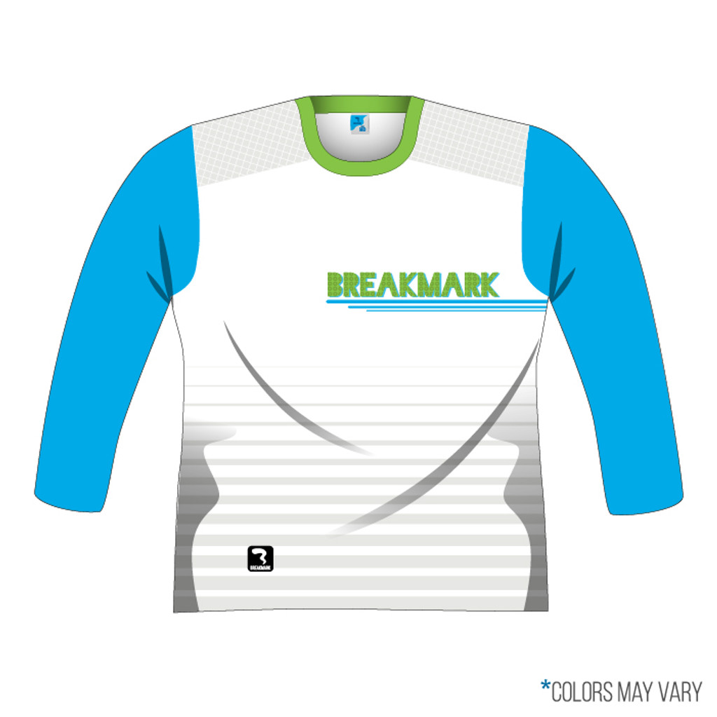 Breakmark Front Panel Long Sleeve Front Light with Electric Blue Sleeves and Lime Collar