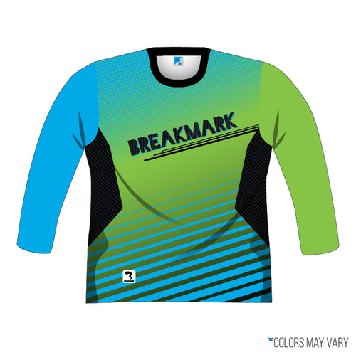 Breakmark Front Panel Long Sleeve Front Dark with Electric Blue Sleeve, Lime Sleeve and Black Collar