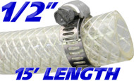 1/2 Inch Reinforced Clear Fuel Hose - 15 Foot Length (202036-15)
