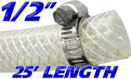 1/2 Inch Reinforced Clear Fuel Hose - 25 Foot Length (202036-25)