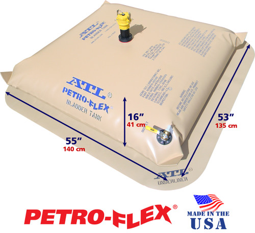 100 Gallon ATL Petro-Flex With Filled Dimensions