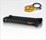 ATEN CS1758Kit: 8 port PS/2 USB OSD Rack Mountable 1U KVM Switch w/ 8 Cables