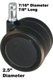 "CH-65 Carpeted Floor Twin Wheel Casters 2.5"" Diameter 5 pc Set"