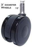"CS-75 3"" Diameter Heavy Duty Soft Wheel Casters for All Types Of Hard Floors"