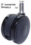 "CS-75 3"" Diameter Heavy Duty Soft Wheel Casters for All Types Of Hard Floors"