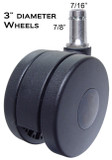 "CH-75 Heavy Duty Chair Casters 3"" Wheel Diameter 875 Pounds Rating Total  5 pc Set"
