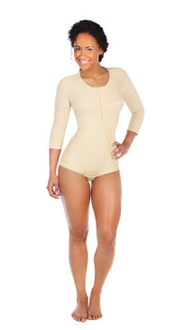 Bikini-Length Bodysuit with 3/4 Sleeves and Hook and Eye Closure