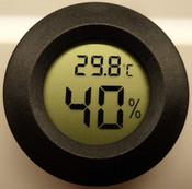 Hygrometer / Thermometer, Digital Round Gauge