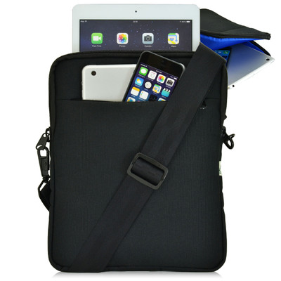 "Universal Tablet Pouch Shoulder Bag, Blue Interior - Fits Devices up to 10.5"" Inch"