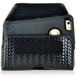 iPhone 6S Police Pouch Belt Clip Horizontal Velcro Closure Black Basketweave Leather Holster Pouch Heavy Duty Rotating Belt Loop fits Otterbox Defender and Bulky Cases