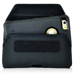 iPhone 6S Police Pouch Belt Case Horizontal Velcro Closure Black Nylon Belt Clip Pouch with Heavy Duty Rotating Belt Loop fits Otterbox Defender and Bulky Cases