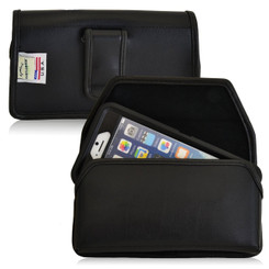 Horizontal Leather Extended Holster for Apple iPhone 6, 6S (4.7 in) with Bulky Cases, Black Belt Clip