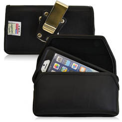 Horizontal Leather Extended Holster for Apple iPhone 6, 6S (4.7 in) with Bulky Cases, Metal Belt Clip