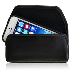 Horizontal Leather Extended Holster For Apple iPhone 5S with Bulk Cases, Black Belt Clip