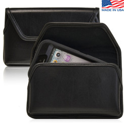 Horizontal Leather Extended Holster For Apple iPhone 5S  with Bulky Cases, Metal Belt Clip